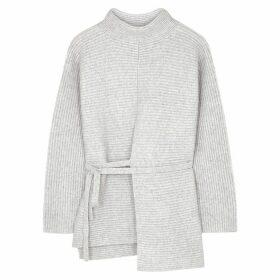 Vince Grey Ribbed Wool-blend Jumper