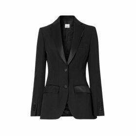 Burberry Silk Trim Wool Tailored Jacket