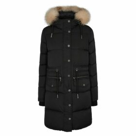 Pajar Chrissy Black Fur-trimmed Shell Coat