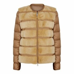 Moncler Cannelle Brown Fur-trimmed Quilted Shell Jacket