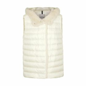Moncler Beurre White Fur-trimmed Quilted Shell Gilet