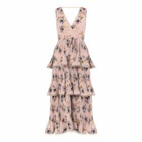 True Decadence True Decadence Nude Floral Tiered Midi Dress