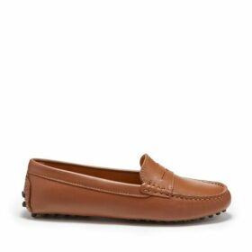 Hugs & Co Womens Penny Driving Loafers Tan Leather