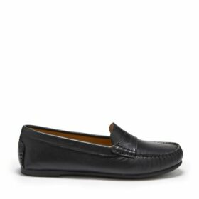 Hugs & Co Womens Penny Driving Loafers Full Rubber Sole Black Leather