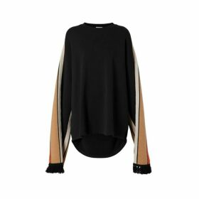 Burberry Contrast Sleeve Cotton Oversized Top