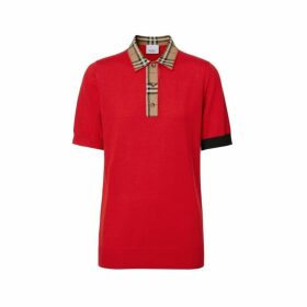 Burberry Vintage Check Trim Merino Wool Polo Shirt