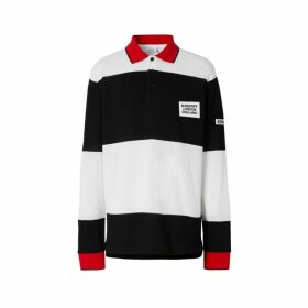 Burberry Long-sleeve Logo Applique Striped Cotton Polo Shirt
