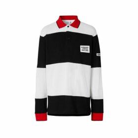 Burberry Long-sleeve Logo Applique Striped Cotton Polo Shirt