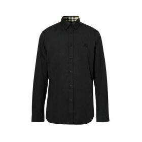 Burberry Slim Fit Embroidered Ekd Stretch Cotton Shirt