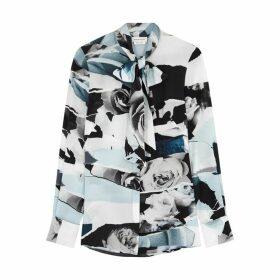Alexander McQueen Floral-print Silk Crepe De Chine Blouse