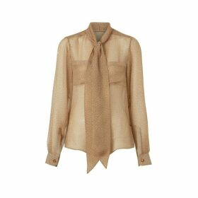 Burberry Fish-scale Print Silk Oversized Pussy-bow Blouse