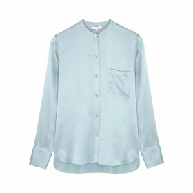 Vince Light Blue Silk-satin Blouse