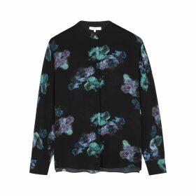 Vince Black Floral-print Silk Blouse