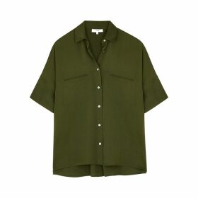 Vince Army Green Silk-blend Blouse