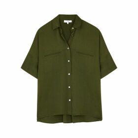 Vince Army Green Silk-blend Blouse