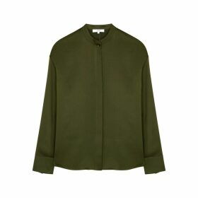 Vince Olive Silk-satin Blouse