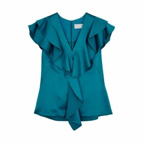 Peter Pilotto Blue Ruffled Satin Top