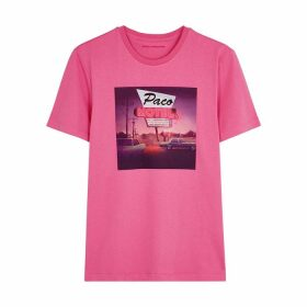 Paco Rabanne Pink Motel-print Cotton T-shirt