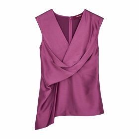 Sies Marjan Neela Magenta Wrap-effect Satin Top