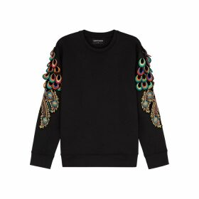 RAGYARD Peacock Feather-appliquéd Jersey Sweatshirt