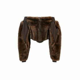 Burberry Off-the-shoulder Faux Fur And Jersey Corset Top