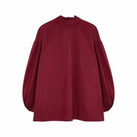 Valentino Dark Red Taffeta Blouse