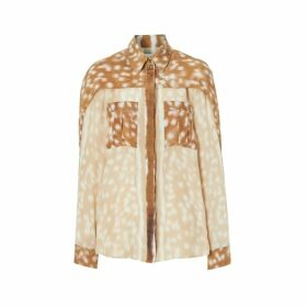 Burberry Cape Sleeve Deer Print Silk Shirt