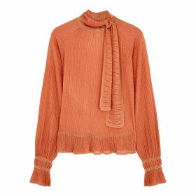 Peter Pilotto Peach Metallic-weave Plissé Top
