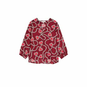 Chinti & Parker Berry Anni Heart Silk-twill Blouse