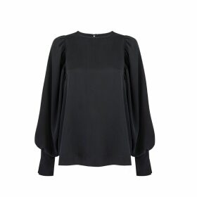 Monica Nera - Aida Black Silk Long-Sleeve Blouse