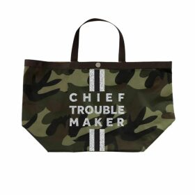 N'Damus London - Mini Victoria Amaka Red & White African Print Full Grain Tan Leather Crossbody Saddle Bag With Gold Chain