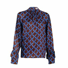 Asneh - Brown Satin Silk Kate Blouse With Blue Print