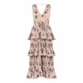 True Decadence - Nude Tiered Floral Pleated Midi Dress