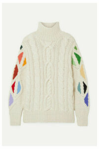 Rosie Assoulin - Pain In The Glass Appliquéd Cable-knit Alpaca Turtleneck Sweater - Cream