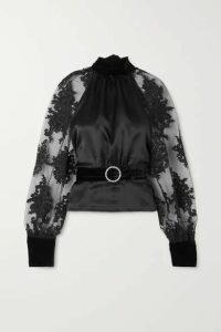 HARMUR - Open-back Belted Lace-trimmed Tulle, Silk-satin And Velvet Blouse - Black