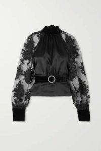 HARMUR - Open-back Belted Lace-trimmed Tulle, Silk-satin And Velvet Blouse - Black