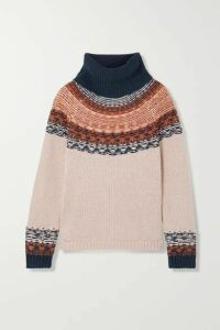 Madewell - Senya Fair Isle Cotton-blend Turtleneck Sweater - Pink
