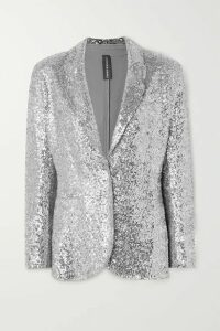 Norma Kamali - Sequined Jersey Blazer - Silver