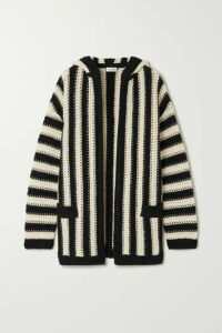 SAINT LAURENT - Hooded Striped Crochet-knit Wool Cardigan - Black