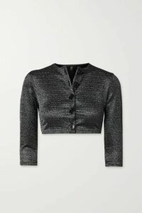Lisa Marie Fernandez - + Net Sustain Cropped Metallic Stretch Cardigan - Gunmetal