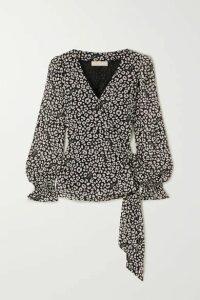 MICHAEL Michael Kors - Leopard-print Crepe De Chine Wrap Top - Black