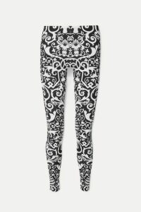 Versace - Printed Stretch-jersey Leggings - Black
