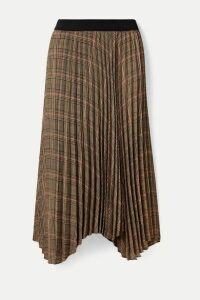 By Malene Birger - Balsash Wrap-effect Pleated Checked Woven Midi Skirt - Tan