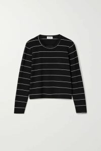 LESET - Millie Striped Stretch-jersey Top - Black