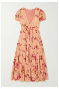 LoveShackFancy - Carlton Tiered Floral-print Swiss-dot Cotton Midi Dress - Blush
