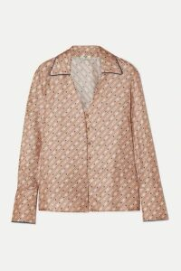 Fendi - Printed Silk-satin Blouse - Beige