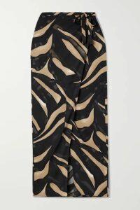 Lisa Marie Fernandez - + Net Sustain Zebra-print Devoré-crepe Wrap Skirt - Black