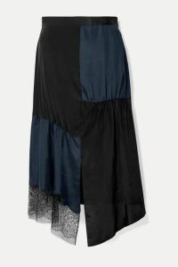 Tibi - Paneled Lace-trimmed Satin-twill And Crepe De Chine Midi Skirt - Midnight blue