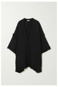 SAINT LAURENT - Fringed Crochet-knit Wool Cape - Black
