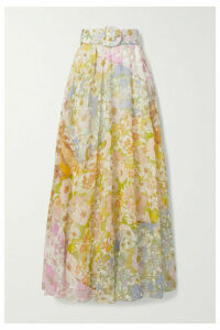 Zimmermann - Super Eight Belted Floral-print Cotton And Silk-blend Voile Maxi Skirt - Pink